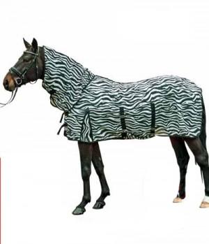 HKM Fliegendecke Zebra mit Halsteil Bauchlat
