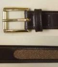 Gürtel Leder Glitter Sensation British S - braun-gold