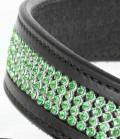 Gürtel Leder 4-reihig Strasseinsatz - smaragd