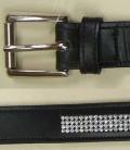Gürtel  Leder mit Strasseinsatz Sale - schwarz-silber
