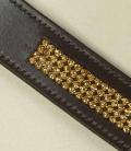 Gürtel  Leder mit Strasseinsatz SP - braun-gold