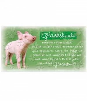 Hippobook Grußkarte Glücks Schweinchen