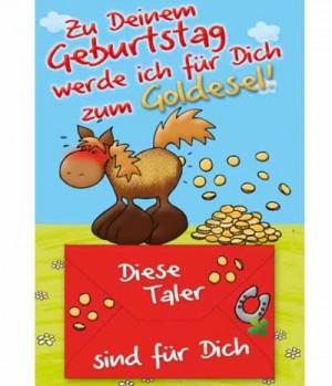 Hippobook Grußkarte zum Geburtstag Goldesel