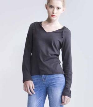 Textil V-Neck Shirt sehr leicht langarm Kapuze