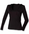 Textil V-Neck Shirt sehr leicht langarm Kapuze - schwarz