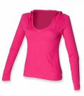 Textil V-Neck Shirt sehr leicht langarm Kapuze - fuchsia
