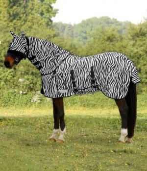 Waldhausen Fliegendecke Zebra mit Latz + Gehfalte
