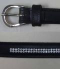 Gürtel  Leder Slim m. Strasseinsatz Sale - schwarz-silber