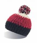 Textil Mütze mit Bommel Polar Fleece innen - schw/burgu