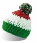 Textil Mütze mit Bommel Polar Fleece innen - green/rot