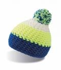 Textil Mütze mit Bommel Polar Fleece innen - royal/gelb