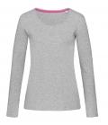Textil Long Shirt Damen modisch geschnitten - grau