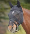 Waldhausen Fliegenmaske mit Nasenfransen mit Ohren - schwarz