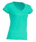Textil T-Shirt Damen V-Neck offener Rand - mintgreen
