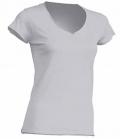 Textil T-Shirt Damen V-Neck offener Rand - ash