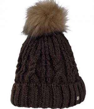 Pikeur Mütze mit Fell Imitat Bommel Strick