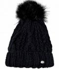 Pikeur Mütze mit Fell Imitat Bommel Strick - schwarz