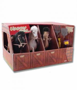Waldhausen Pferde Spielset 3Pferde im Stall