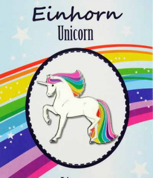 Happy Ross Ansteck Pin Einhorn