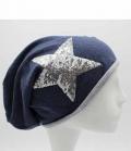 Springstar Mütze Sofia dünn mit Pailletten Stern - blau