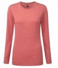 Textil Long Shirt Damen gekämmte Baumwolle - rot