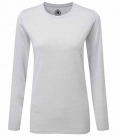 Textil Long Shirt Damen gekämmte Baumwolle - silber