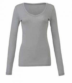 Textil Shirt Damen Long Shirt V-Ausschnitt