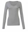 Textil Shirt Damen Long Shirt V-Ausschnitt - granit