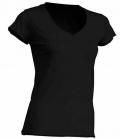 Textil T-Shirt Damen V-Neck offener Rand - schwarz