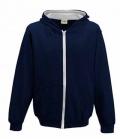 Textil Jacke Youth Hoody Sweat mit Kontast - navy/grey