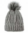 Pikeur Mütze mit Fell Imitat Bommel HW´17 SP. - grau