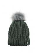 Pikeur Mütze mit Fell Imitat Bommel Strick - pinegreen