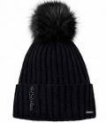 Pikeur Mütze Fell Imitat Bommel Premium - schwarz