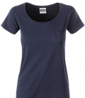 T-Shirt Ladies Brusttasche - navy