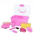 Kerbl Putzbox gefüllt 8-teilig für Kids - rosa
