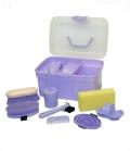 Kerbl Putzbox gefüllt 8-teilig für Kids - lila
