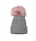 Pikeur Mütze mit Fell Imitat Bommel Strick - grau-melange