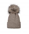 Pikeur Mütze mit Fell Imitat Bommel Strick - taupe