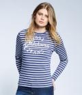 Oklahoma Sweat Shirt Women Longsleeve Stripe - nachtblau