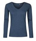 Textil Longsleeve V-Neck Shirt Ladies tailliert - navymelier