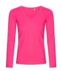 Textil Longsleeve V-Neck Shirt Ladies tailliert - brightrose