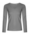 Textil Longsleeve V-Neck Shirt Ladies tailliert - grau
