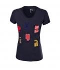 Pikeur T-Shirt Damen Mary Samt Buchstaben FS´20 - dunkelblau