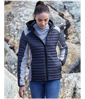 Textil Jacke Hooded Crossover Materialmix Lady