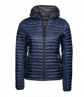 Textil Jacke Hooded Crossover Materialmix Lady - navygrau