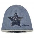 Pikeur Mütze Kinder Sweat-/Lurex mit Stern - blau