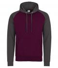 Textil Sweat Shirt Baseball Hoodie Kontrast - burgundy