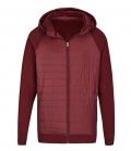 Textil Jacke Unisex Materialmix abnehmbare Kapu - burgundy