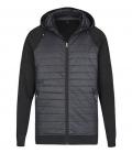 Textil Jacke Unisex Materialmix abnehmbare Kapu - schwarz