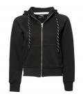 Textil Jacke Womens Sweat Fashion Full Zip Hood - schwarz